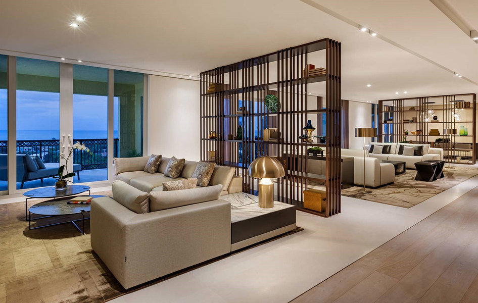 Designed by Eric Dyer of Troy Dean Interiors, a modern living space is given a comfy vibe with ARTHUR