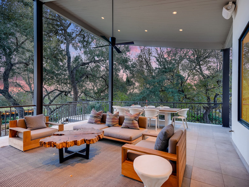 An outdoor living area of a five-bedroom, $7.795 million home in West Lake Hills. The property also f