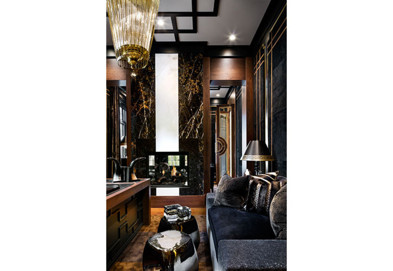 A mixed metal design comes to life in this gentleman's lounge designed by Lori Morris thanks to antiq