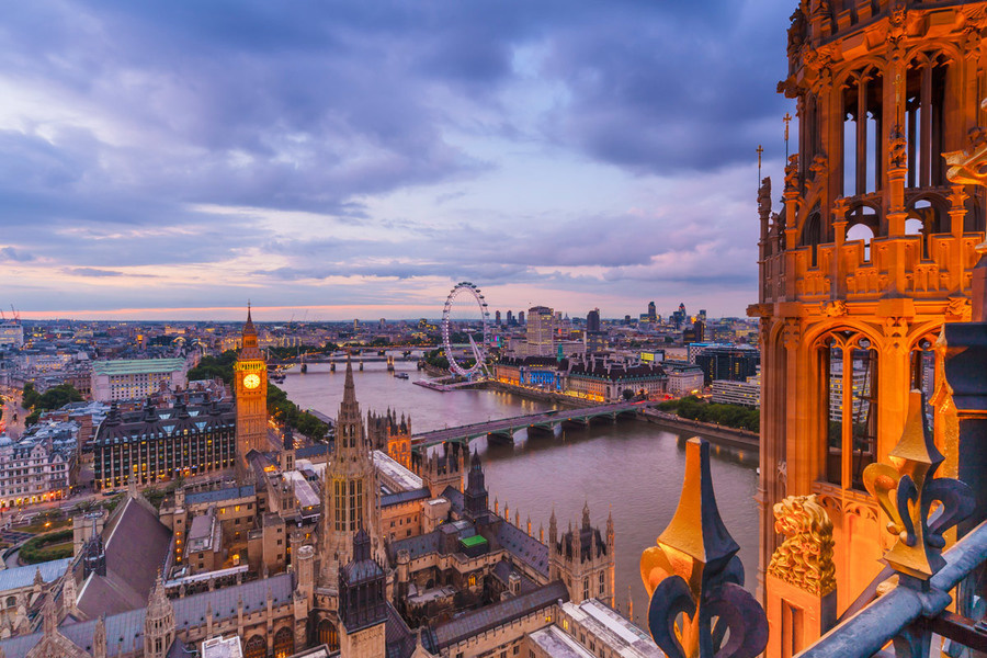 The London skyline seen from Victoria Tower of the Houses of Parliament.