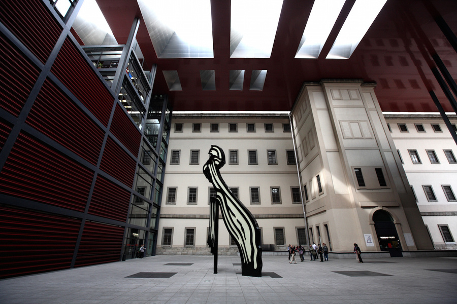 Roy Lichtenstein Brushstroke sculpture in covered plaza of Reina Sofia National Art Museum