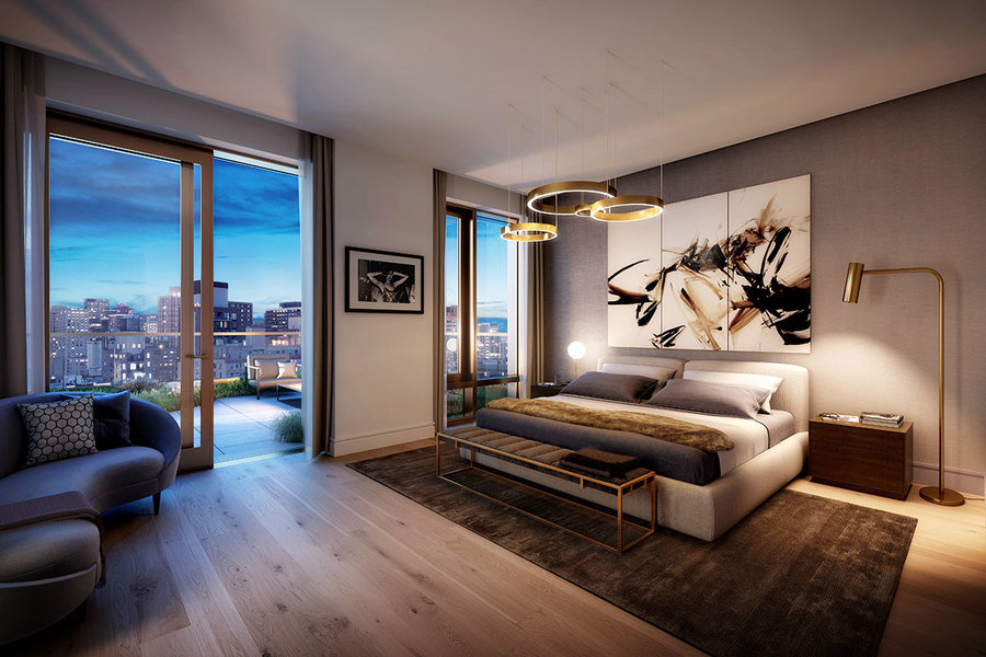 A bedroom at 200 East 21st Street. The building has a variable-speed HVAC system that the superintend