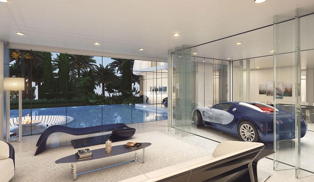 埃托尔971布加迪风格别墅的室内插图,具有布加迪威龙(Bugatti Veyron)的特色。