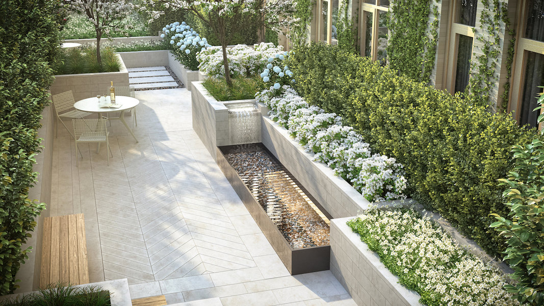 Designed by Edmund Hollander, the courtyard at 40 Bleecker in Manhattan features a lush wonderland of