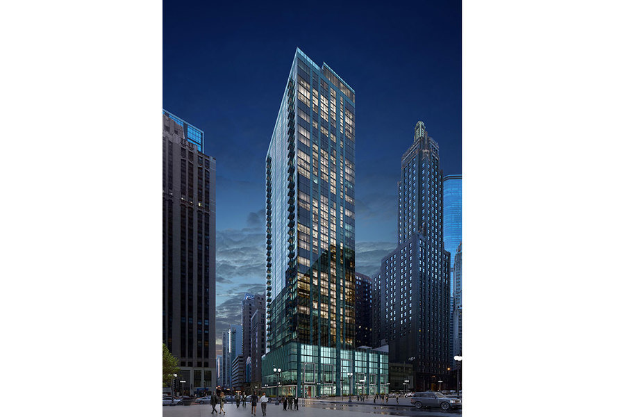 A rendering of the exterior of MILA as seen from Michigan Avenue.