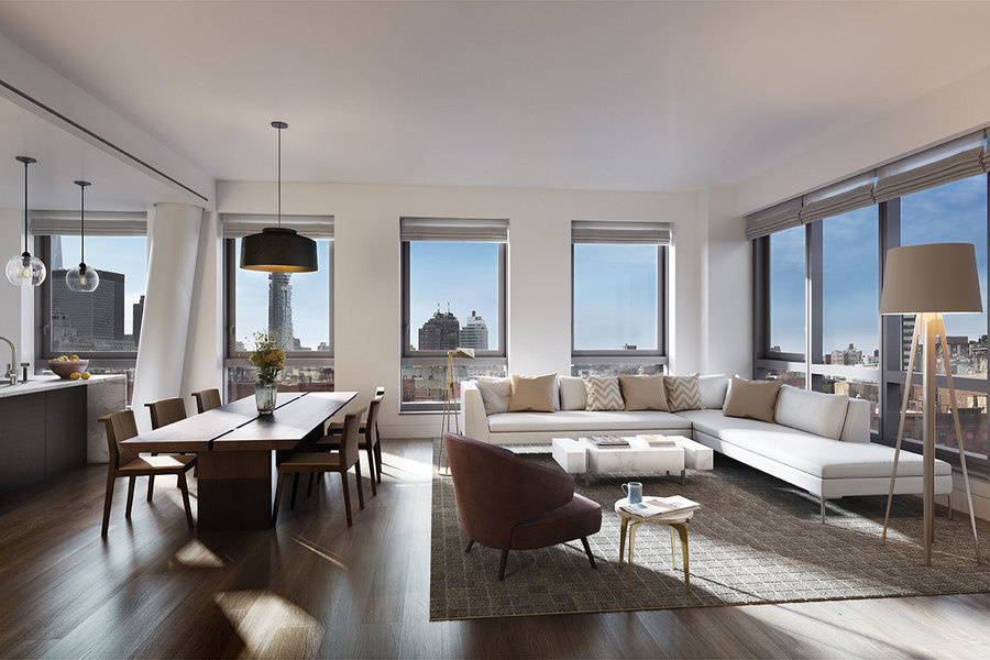 Designed by Jordan Rogove, co-founder of DXA Studio in New York, this loft at 242 Broome, a building