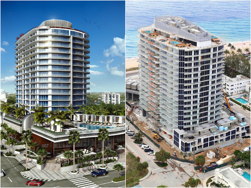 A  comparison of rendering and construction images of Paramount Fort Lauderdale Beach