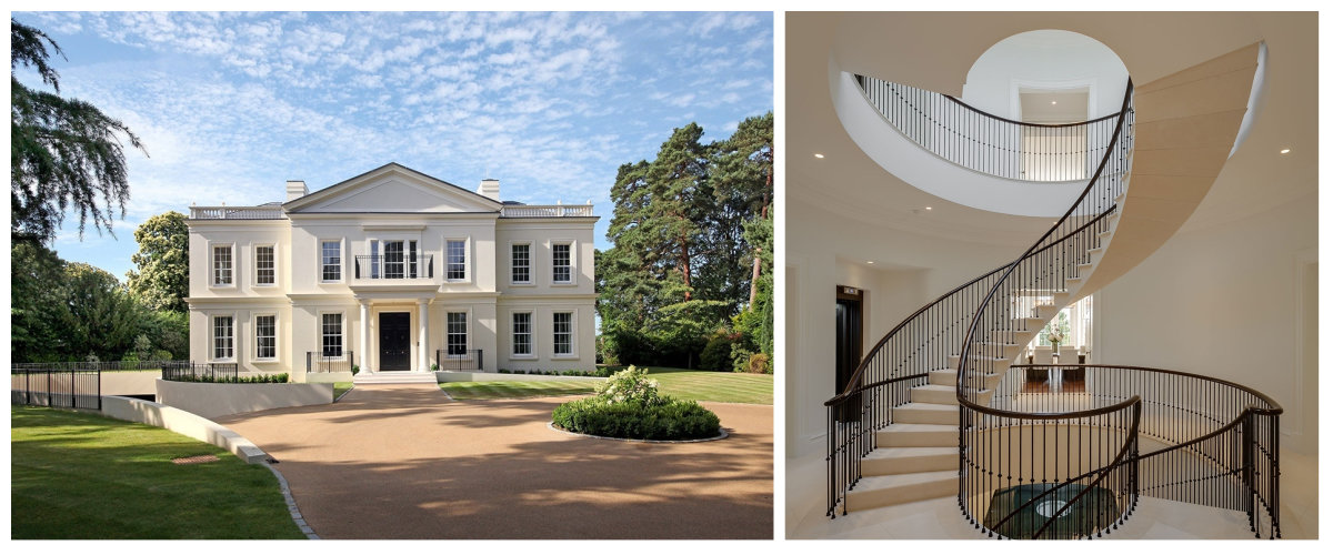 Camp End Manor, St George's Hill, Weybridge, Surrey: A Palladian-style new build house with a free-fl
