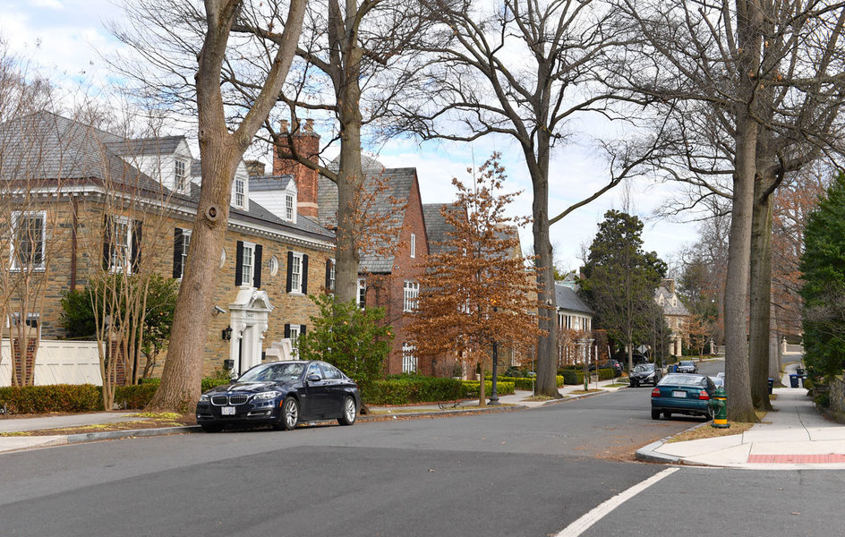 A view looking down Kalorama Road in the Kalorama neighborhood of in Washington, D.C.